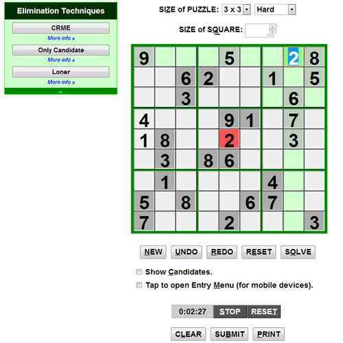 Online Interactive Sudoku screenshot